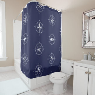 Seaside Nautical Blue White Coastal Bathroom Shower Curtain