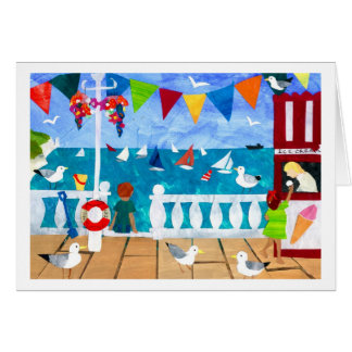 Seaside Paper Collage Greeting Card