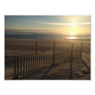 Seaside Park Oceanfront Beach Sunrise Dune Fence Art Photo