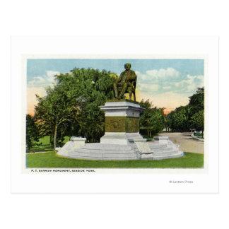 Seaside Park View of the P T Barnum Monument Postcard