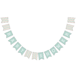Seaside Pastel Mint Stripe Baby Shower Bunting