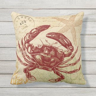 Seaside Red Crab Collage Outdoor Cushion