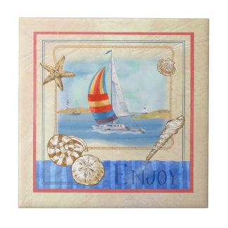 Seaside Sailboats Art Tile