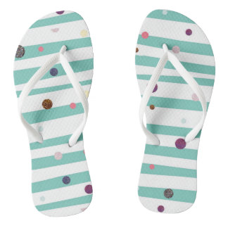 Seaside stripes and glitter dots thongs