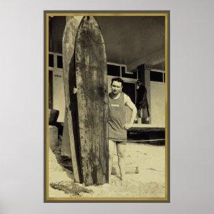 Seaside surfing in hawaii Vintage Surf Sports Fan Poster