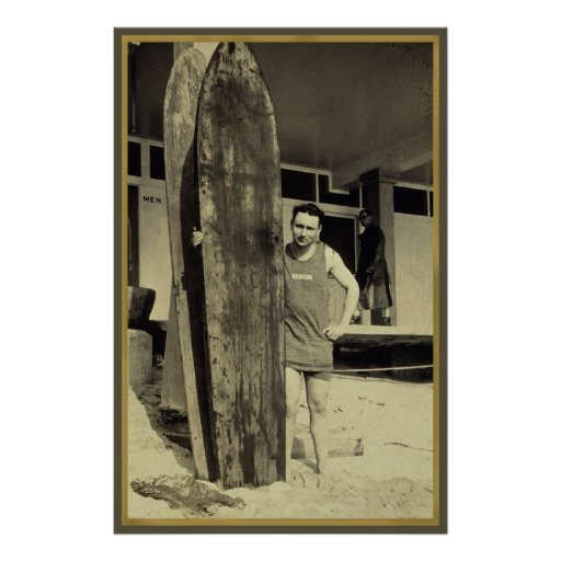 Seaside surfing in hawaii Vintage Surf Sports Fan Posters