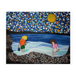 seaside treasure hunting postcard