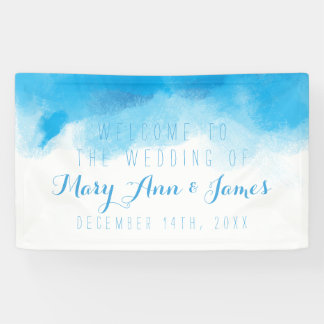 Seaside Wedding Welcome Blue Watercolor Banner