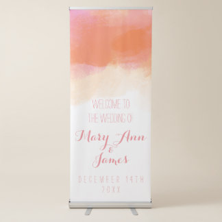 Seaside Wedding Welcome Blush Watercolor Retractable Banner