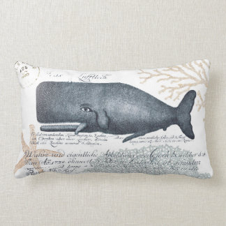 Seaside Whale Collage in Navy and Sand Lumbar Cushion