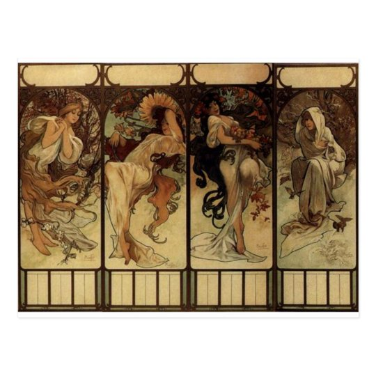 Season by Alphonse Mucha Postcard