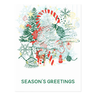 Season Greeting Everything Christmas Red Green Postcard