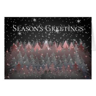 Season Greeting Night Stars Trees Sparkle Stardust Card