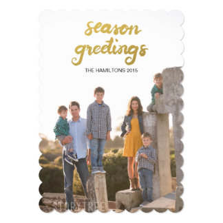 Season Greetings brushscript Foil Paper Photo Card 13 Cm X 18 Cm Invitation Card
