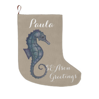 SEAson greetings linen christmas stocking