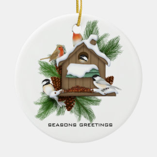 Season Greetings Round Ceramic Decoration
