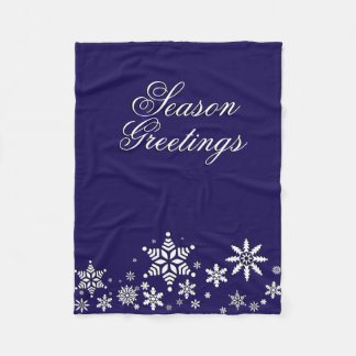 Season Greetings Snowflakes | Blue Fleece Blanket