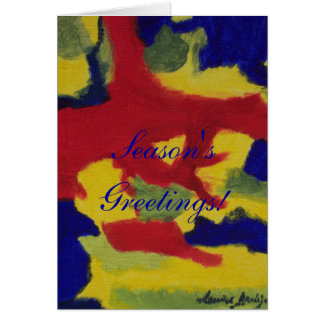 Season's Greetings Abstract Red Yellow Blue Card