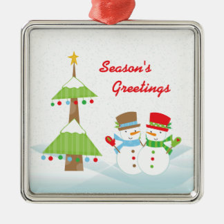 Season s greetings christmas snowmen ornament
