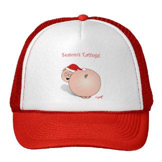 Season s Greetings Eatings Pig Cartoon Mesh Hat
