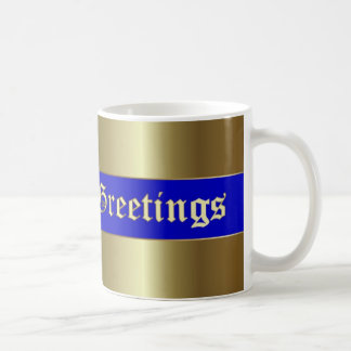 Season's Greetings Golden Blue Stripe Mug