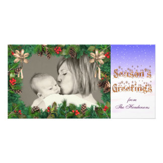 Season's Greetings Photo Card Template holly, pine