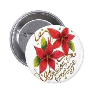 Season s Greetings Poinsettias Buttons