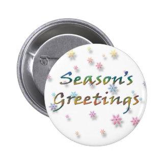 Season s Greetings Snowflakes Pinback Button