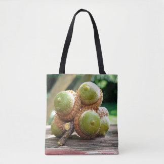 Seasonal Fall Acorns On Twig Photography Tote Bag