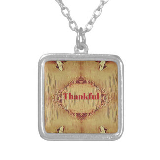 Seasonal Fall 'Thankful' Design Tote Silver Plated Necklace