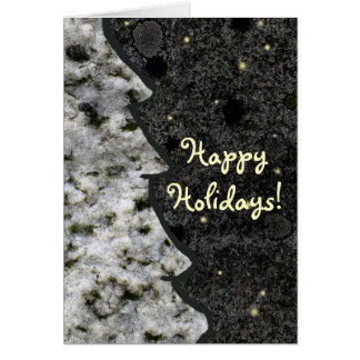Seasonal Granite Rock Texture Happy Holidays Card