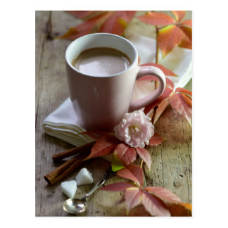 Seasonal rustic autmn cocoa & leaves still life postcard