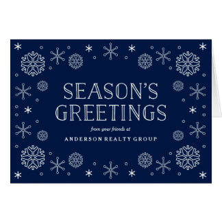 Seasonal Snowflakes Corporate Holiday Greeting Card
