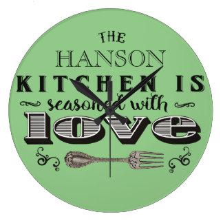 Seasoned with love custom kitchen design wallclock