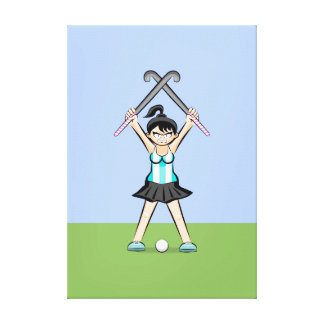 Seasoned young hockey On guard of attack Canvas Print