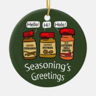 Seasoning's Greetings Funny Holiday Pun Ceramic Ornament
