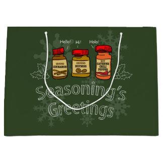 Seasoning's Greetings Funny Holiday Pun Large Gift Bag