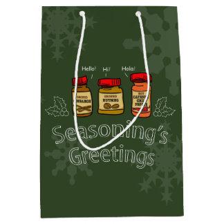 Seasoning's Greetings Funny Holiday Pun Medium Gift Bag