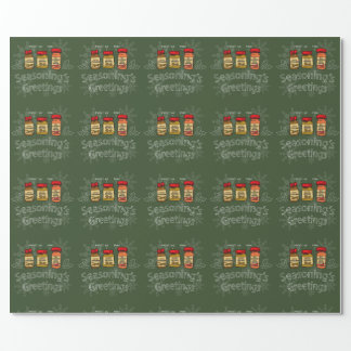 Seasoning's Greetings Funny Holiday Pun Wrapping Paper