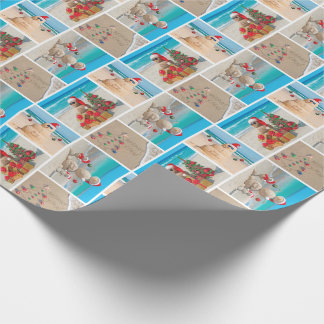 Season's Beachin Sandy Snowman Wrapping Paper