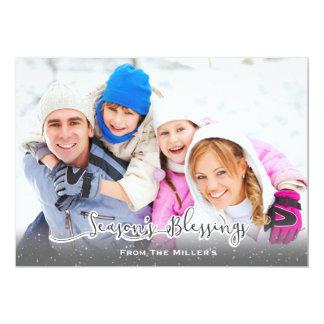 Season's Blessings Family Holiday Card Snowfall 13 Cm X 18 Cm Invitation Card