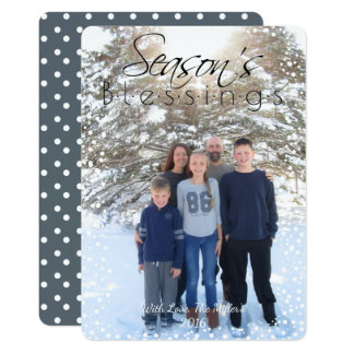 Season's Blessings Holiday Card with Snowflakes 13 Cm X 18 Cm Invitation Card