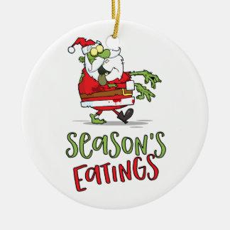 Season's Eatings - Zombie Santa Round Ceramic Decoration