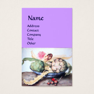 SEASON'S FRUITS,ARTICHOKES,ROSE,STRAWBERRIES Lilac Business Card