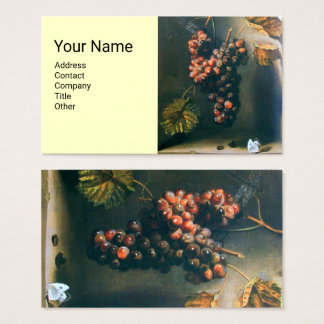 SEASON'S FRUITS,Hanged Red Grapes,Butterfly,Rustic Business Card