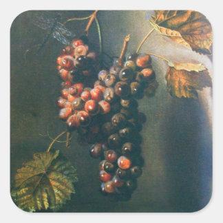 SEASON'S FRUITS -PROSPERITY, HANGED GRAPES Rustic Square Sticker