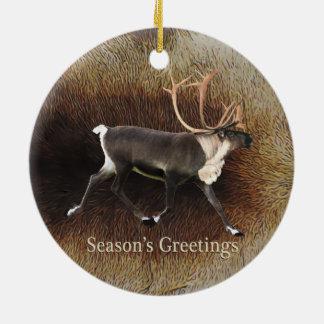 Season's Greeting - Bull Caribou (Reindeer) Round Ceramic Decoration