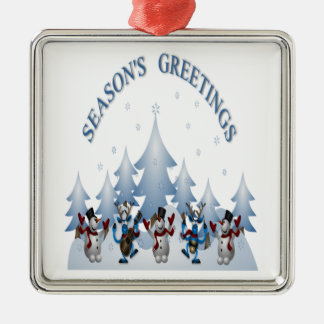 Seasons Greeting design with the joy of Christmas Silver-Colored Square Decoration