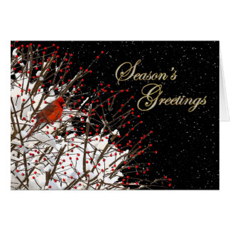 Season's Greeting - Holy Berries/Red Cardinal Greeting Card