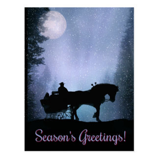Season's Greeting Horse Drawn Sleigh Postcards